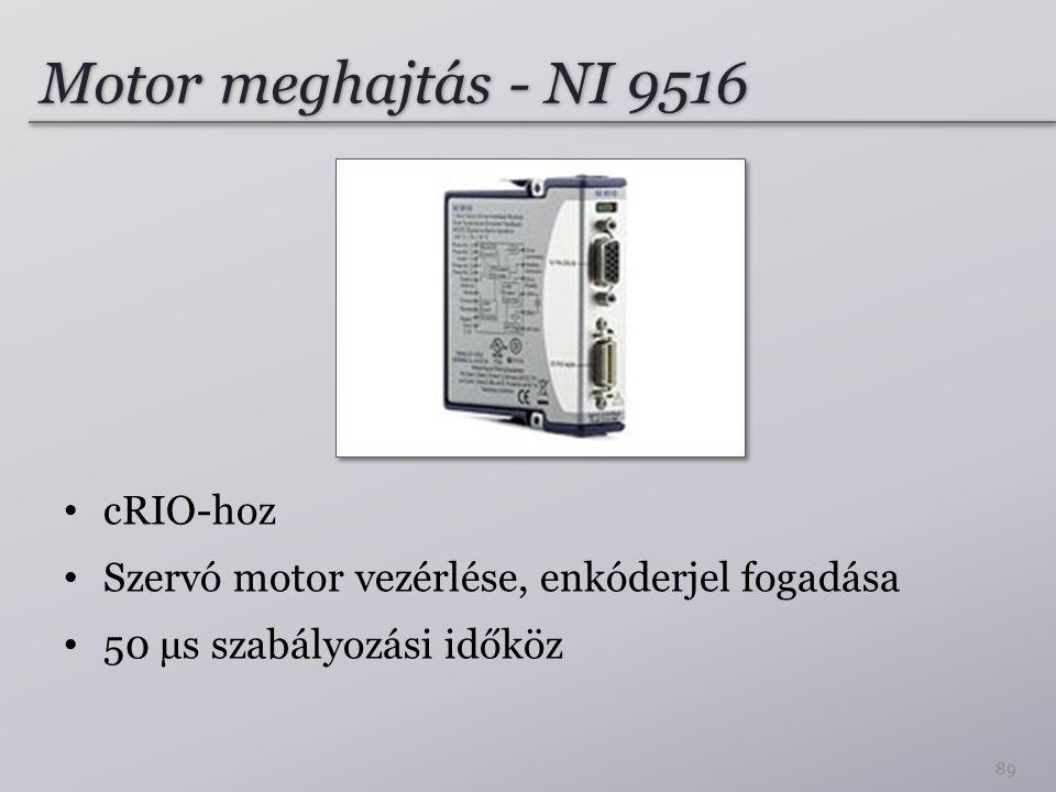 Motor meghajtás - NI 9516 cRIO-hoz Szervó motor vezérlése, enkóderjel fogadása 50 µs szabályozási időköz 89