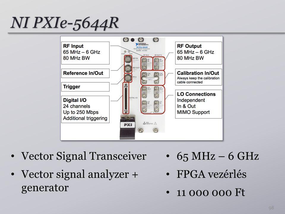 NI PXIe-5644R 65 MHz – 6 GHz FPGA vezérlés 11 000 000 Ft 98 Vector Signal Transceiver Vector signal analyzer + generator