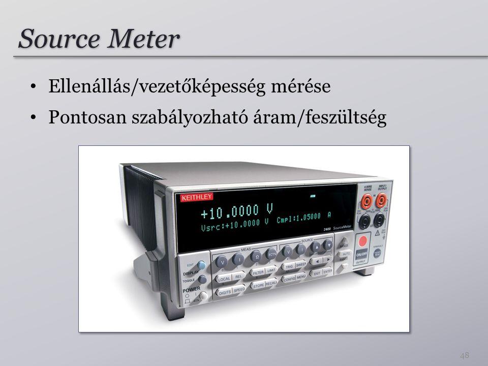 Source Meter Ellenállás/vezetőképesség mérése Pontosan szabályozható áram/feszültség 48