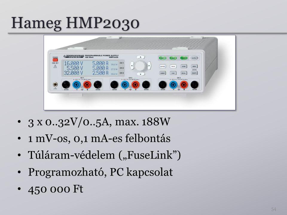 """Hameg HMP2030 3 x 0..32V/0..5A, max. 188W 1 mV-os, 0,1 mA-es felbontás Túláram-védelem (""""FuseLink"""") Programozható, PC kapcsolat 450 000 Ft 54"""