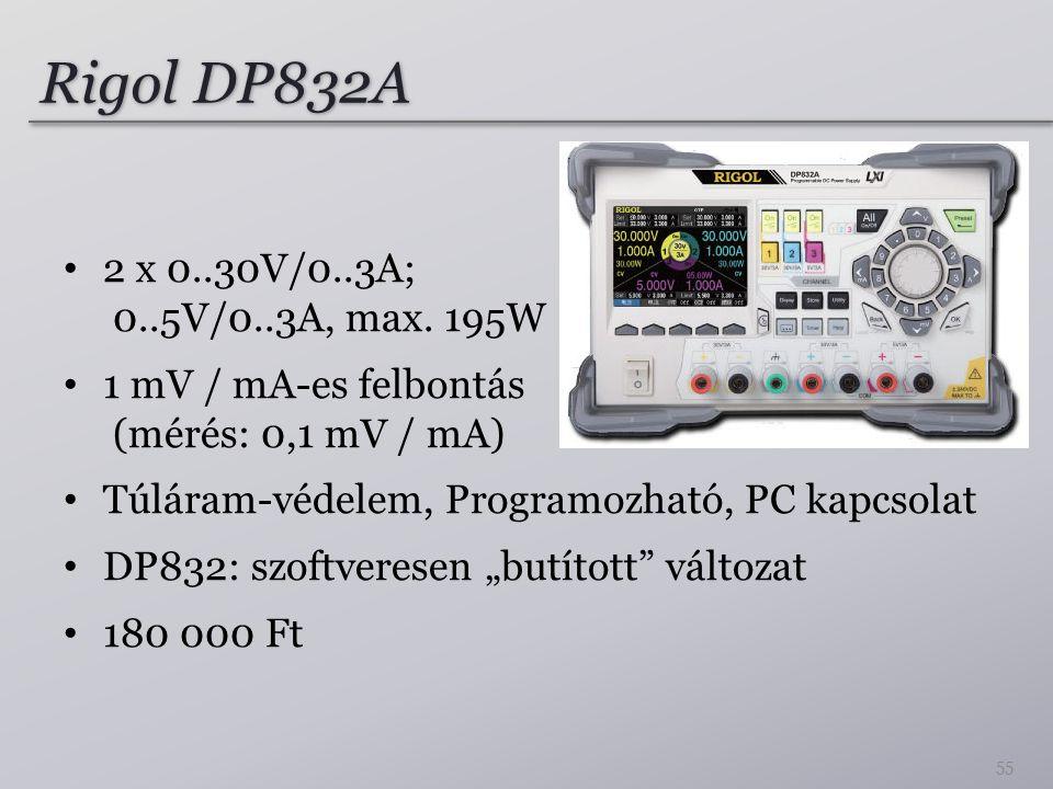 Rigol DP832A 2 x 0..30V/0..3A; 0..5V/0..3A, max. 195W 1 mV / mA-es felbontás (mérés: 0,1 mV / mA) Túláram-védelem, Programozható, PC kapcsolat DP832: