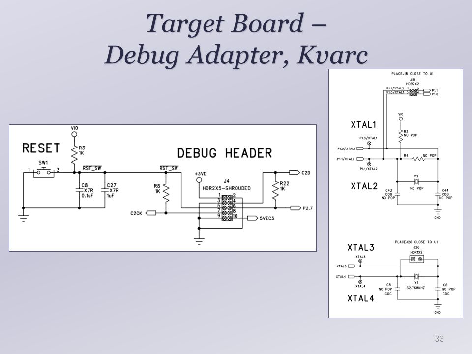 Target Board – Debug Adapter, Kvarc 33