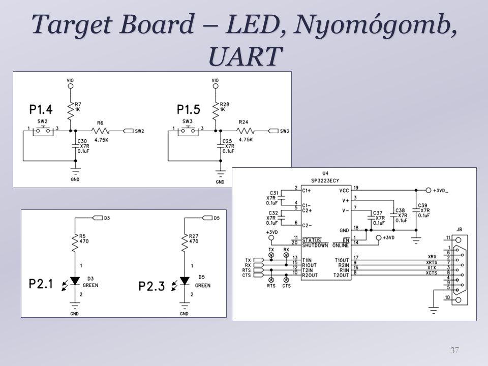 Target Board – LED, Nyomógomb, UART 37