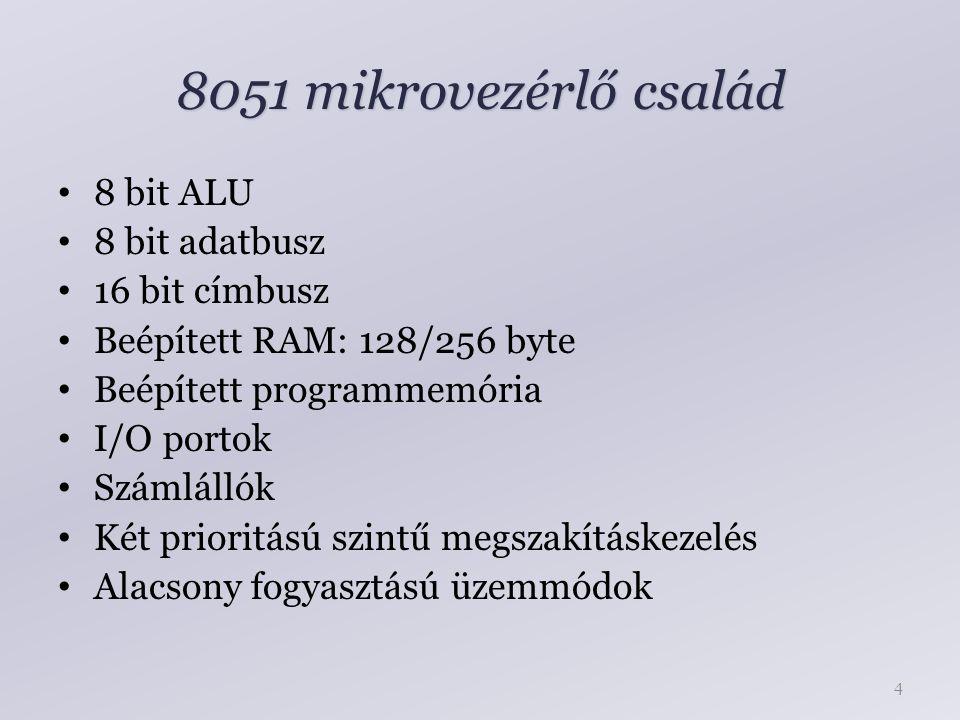 8051 mikrovezérlő család 8 bit ALU 8 bit adatbusz 16 bit címbusz Beépített RAM: 128/256 byte Beépített programmemória I/O portok Számlállók Két prioritású szintű megszakításkezelés Alacsony fogyasztású üzemmódok 4