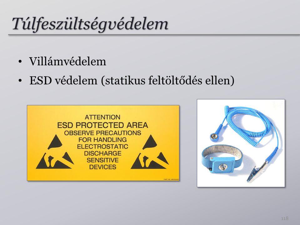 Túlfeszültségvédelem Villámvédelem ESD védelem (statikus feltöltődés ellen) 118
