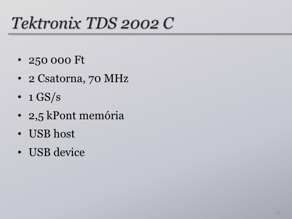 Tektronix TDS 2002 C 250 000 Ft 2 Csatorna, 70 MHz 1 GS/s 2,5 kPont memória USB host USB device 48