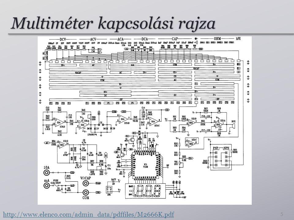 Bemeneti feszültségosztó A bemenő impedancia méréshatártól függetlenül állandó Értéke: 10 MΩ (olcsó multiméterek: 1 MΩ) 6