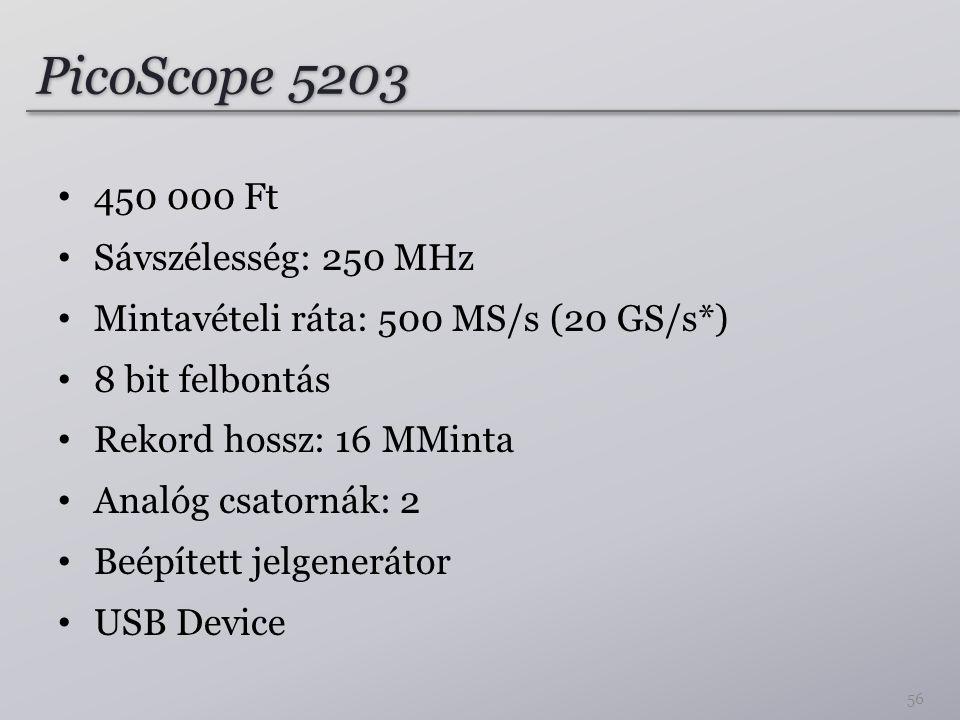 PicoScope 5203 450 000 Ft Sávszélesség: 250 MHz Mintavételi ráta: 500 MS/s (20 GS/s*) 8 bit felbontás Rekord hossz: 16 MMinta Analóg csatornák: 2 Beépített jelgenerátor USB Device 56