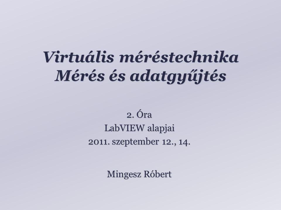 Tartalom LabVIEW környezet bemutatása Adattípusok Feladatmegoldás Mingesz RóbertVM – 01 – 2011.09.05.2 oldal