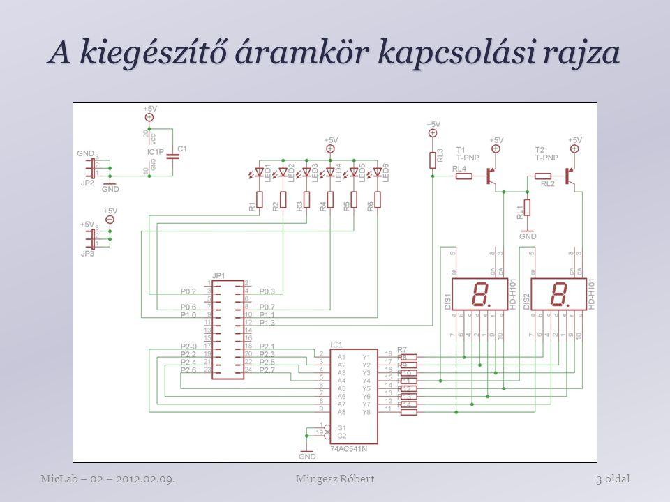 A kiegészítő áramkör kapcsolási rajza Mingesz RóbertMicLab – 02 – 2012.02.09.3 oldal