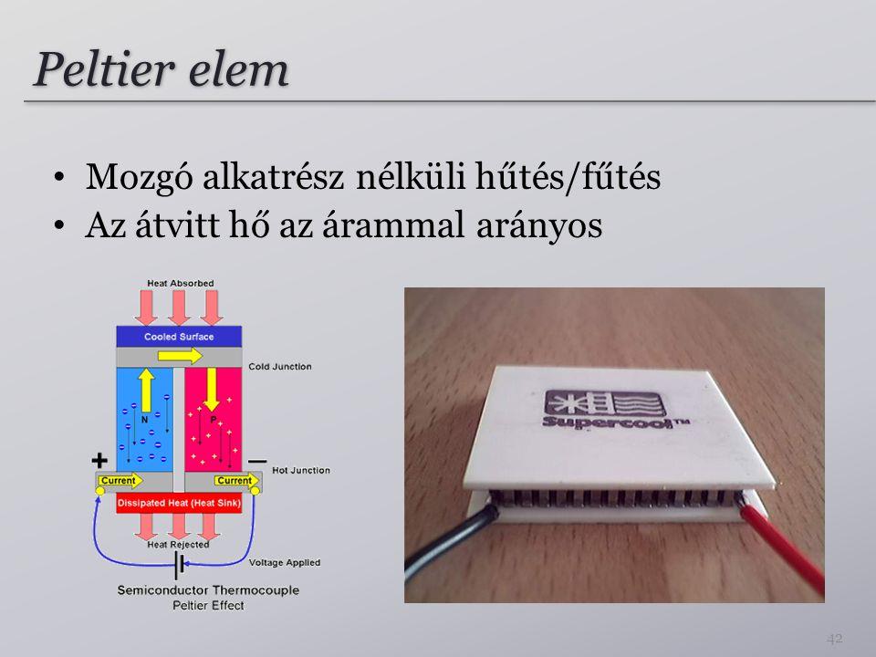 Peltier elem Mozgó alkatrész nélküli hűtés/fűtés Az átvitt hő az árammal arányos 42