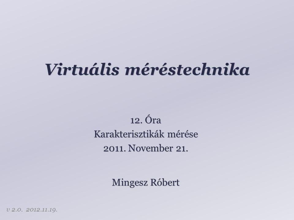 Virtuális méréstechnika 12. Óra Karakterisztikák mérése 2011. November 21. Mingesz Róbert v 2.0. 2012.11.19.