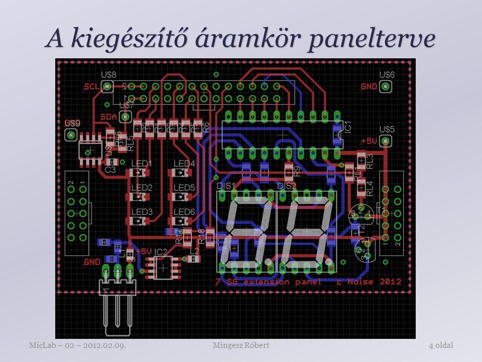 A kiegészítő áramkör panelterve Mingesz RóbertMicLab – 02 – 2012.02.09.4 oldal