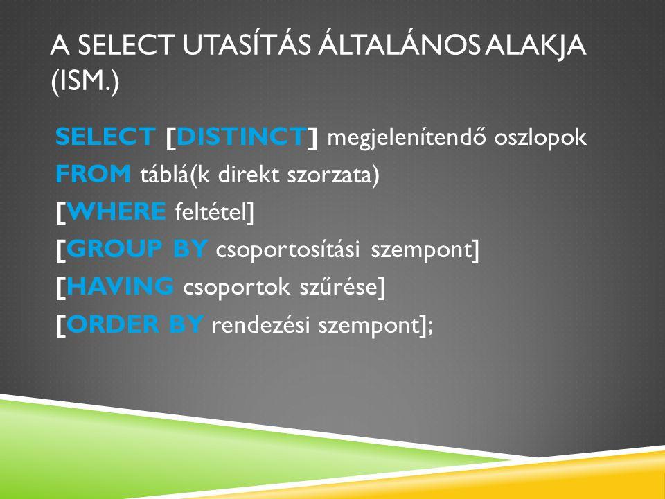 A SELECT UTASÍTÁS ÁLTALÁNOS ALAKJA (ISM.) SELECT [DISTINCT] megjelenítendő oszlopok FROM táblá(k direkt szorzata) [WHERE feltétel] [GROUP BY csoportosítási szempont] [HAVING csoportok szűrése] [ORDER BY rendezési szempont];