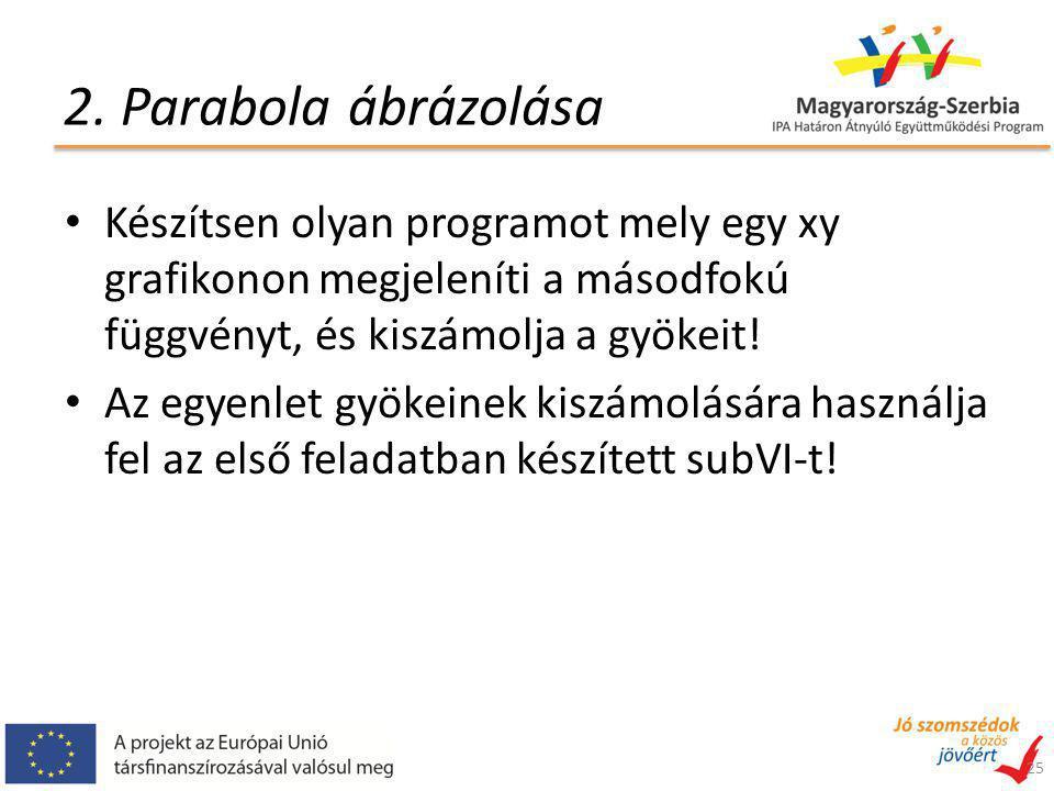 2. Parabola ábrázolása Készítsen olyan programot mely egy xy grafikonon megjeleníti a másodfokú függvényt, és kiszámolja a gyökeit! Az egyenlet gyökei