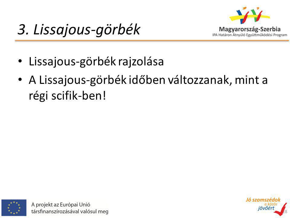 3. Lissajous-görbék Lissajous-görbék rajzolása A Lissajous-görbék időben változzanak, mint a régi scifik-ben! 28