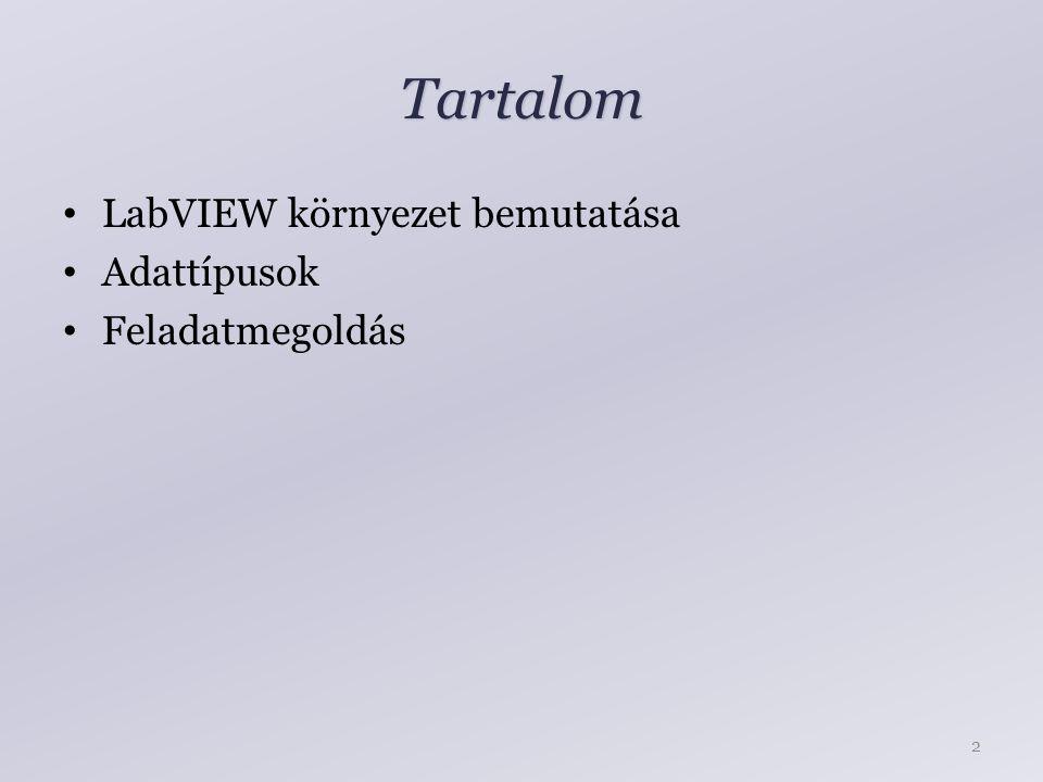 Tartalom LabVIEW környezet bemutatása Adattípusok Feladatmegoldás 2