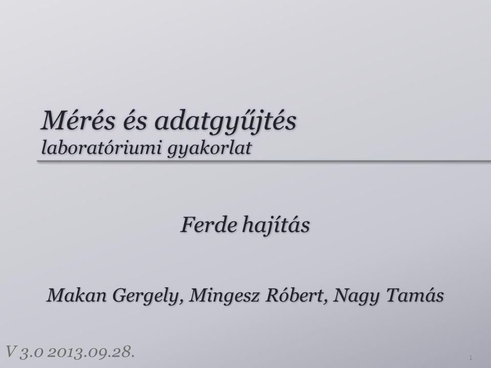 Mérés és adatgyűjtés laboratóriumi gyakorlat Ferde hajítás 1 Makan Gergely, Mingesz Róbert, Nagy Tamás V 3.0 2013.09.28.