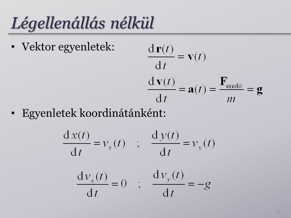 Légellenállás nélkül 16 Vektor egyenletek: Egyenletek koordinátánként: