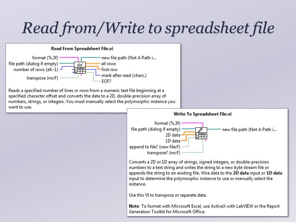 Read from/Write to spreadsheet file 5
