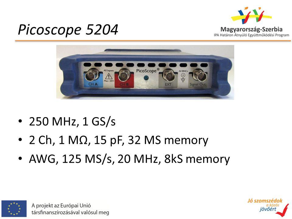 250 MHz, 1 GS/s 2 Ch, 1 MΩ, 15 pF, 32 MS memory AWG, 125 MS/s, 20 MHz, 8kS memory