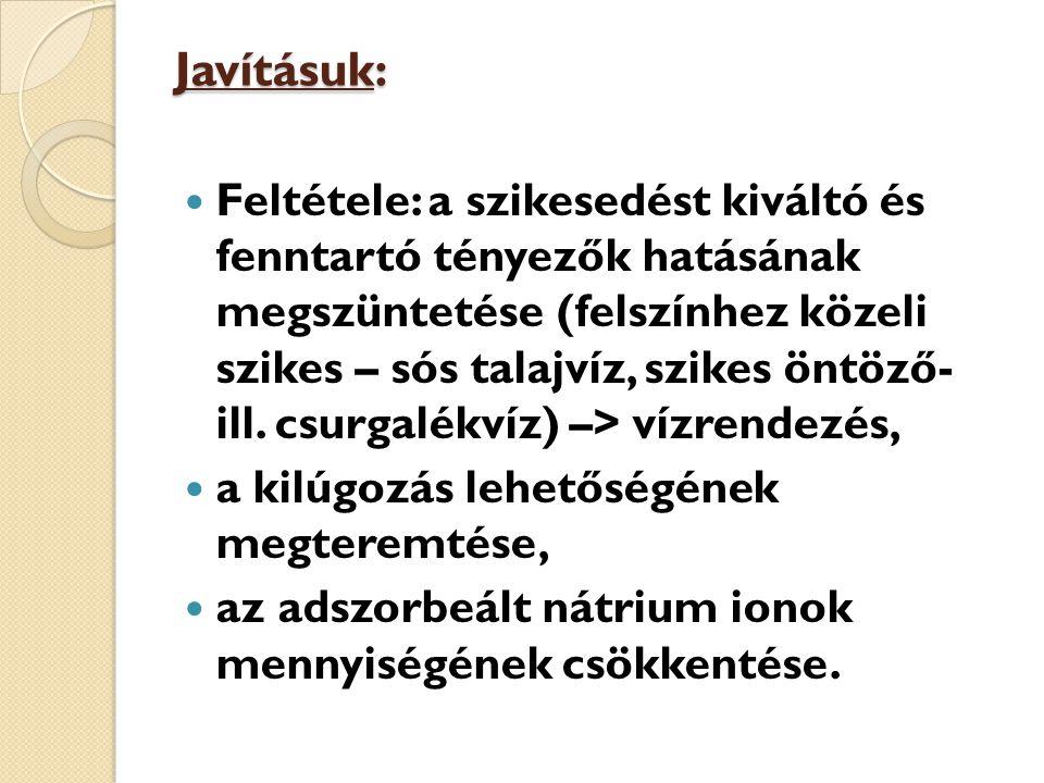 Javításuk: Feltétele: a szikesedést kiváltó és fenntartó tényezők hatásának megszüntetése (felszínhez közeli szikes – sós talajvíz, szikes öntöző- ill