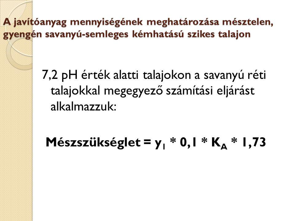 A javítóanyag mennyiségének meghatározása mésztelen, gyengén savanyú-semleges kémhatású szikes talajon 7,2 pH érték alatti talajokon a savanyú réti talajokkal megegyező számítási eljárást alkalmazzuk: Mészszükséglet = y 1 * 0,1 * K A * 1,73