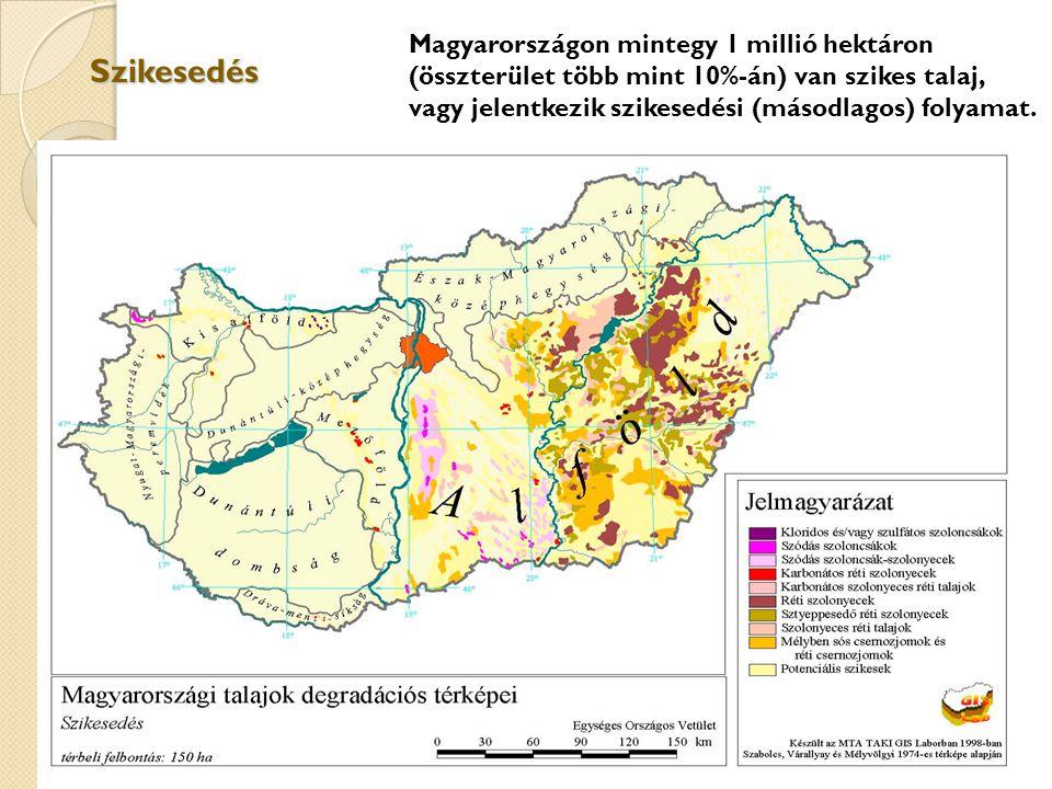 Szikesedés Magyarországon mintegy 1 millió hektáron (összterület több mint 10%-án) van szikes talaj, vagy jelentkezik szikesedési (másodlagos) folyama