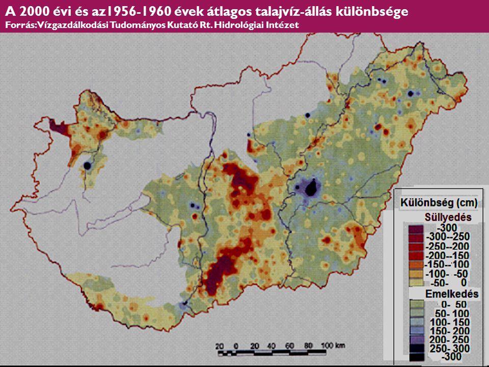 HEFOP 3.3.1. A 2000 évi és az1956-1960 évek átlagos talajvíz-állás különbsége Forrás: Vízgazdálkodási Tudományos Kutató Rt. Hidrológiai Intézet