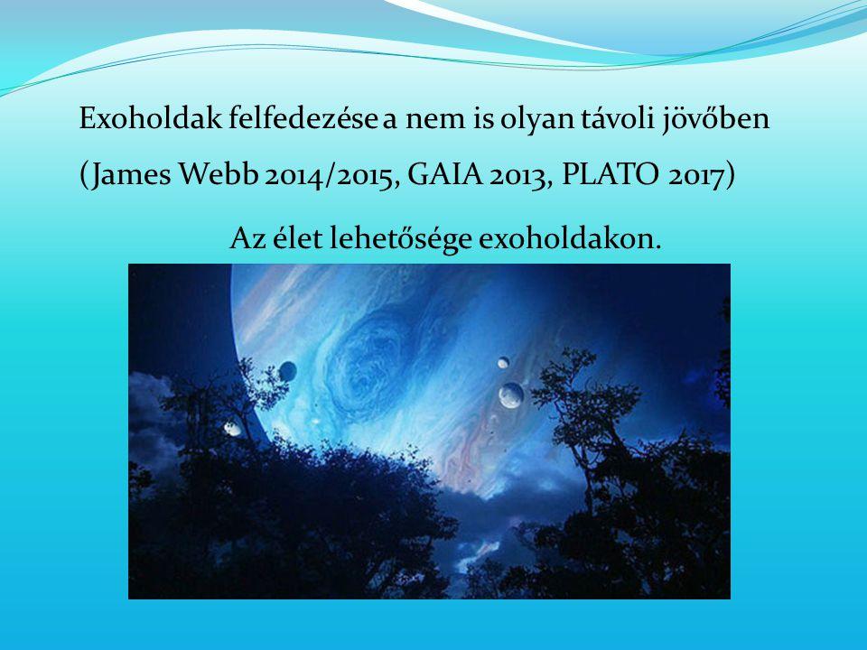Exoholdak felfedezése a nem is olyan távoli jövőben (James Webb 2014/2015, GAIA 2013, PLATO 2017) Az élet lehetősége exoholdakon.