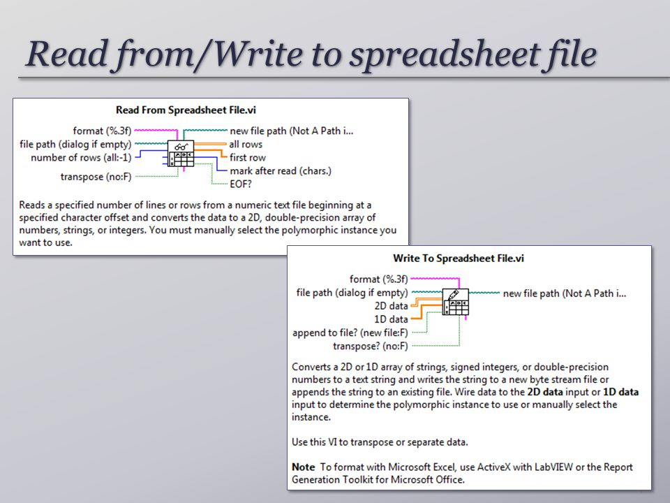 Read from/Write to spreadsheet file 7