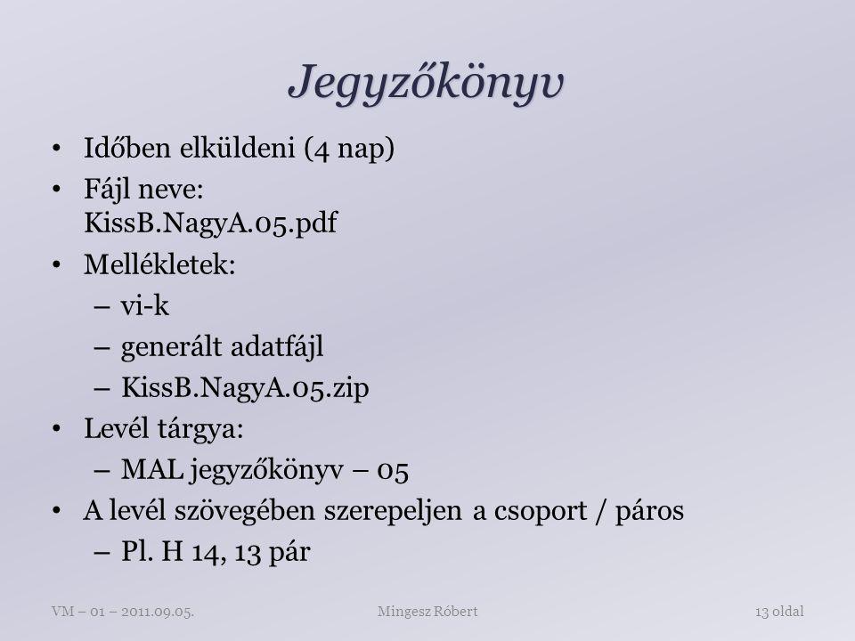 Jegyzőkönyv Időben elküldeni (4 nap) Fájl neve: KissB.NagyA.05.pdf Mellékletek: – vi-k – generált adatfájl – KissB.NagyA.05.zip Levél tárgya: – MAL jegyzőkönyv – 05 A levél szövegében szerepeljen a csoport / páros – Pl.