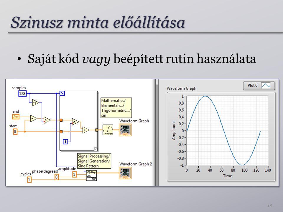 Szinusz minta előállítása 18 Saját kód vagy beépített rutin használata
