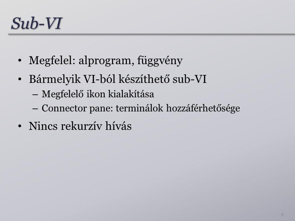 Sub-VISub-VI 6 Megfelel: alprogram, függvény Bármelyik VI-ból készíthető sub-VI – Megfelelő ikon kialakítása – Connector pane: terminálok hozzáférhetősége Nincs rekurzív hívás