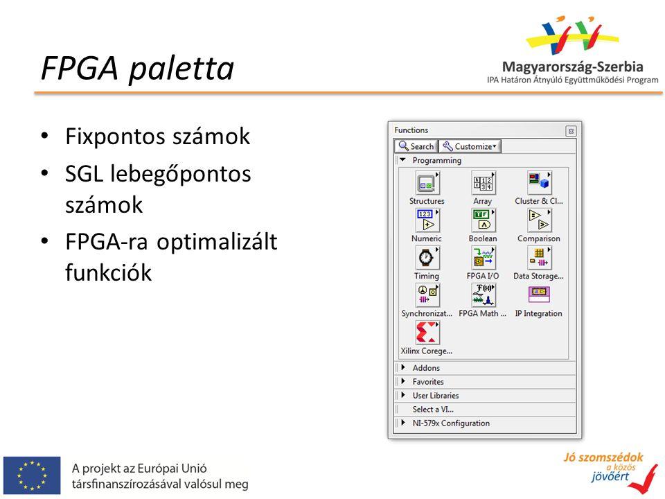 FPGA paletta Fixpontos számok SGL lebegőpontos számok FPGA-ra optimalizált funkciók