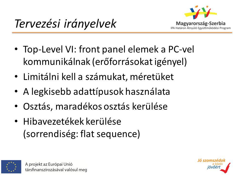 Tervezési irányelvek Top-Level VI: front panel elemek a PC-vel kommunikálnak (erőforrásokat igényel) Limitálni kell a számukat, méretüket A legkisebb adattípusok használata Osztás, maradékos osztás kerülése Hibavezetékek kerülése (sorrendiség: flat sequence)