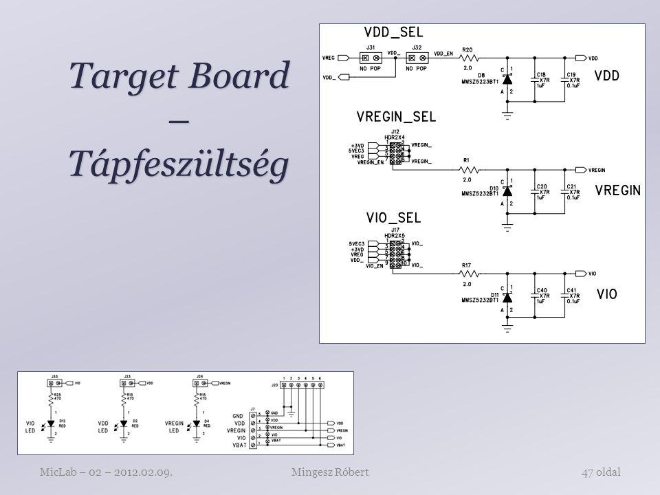 Target Board – Tápfeszültség Mingesz RóbertMicLab – 02 – 2012.02.09.47 oldal