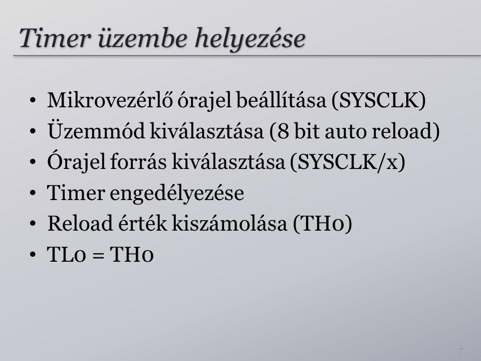 Timer üzembe helyezése Mikrovezérlő órajel beállítása (SYSCLK) Üzemmód kiválasztása (8 bit auto reload) Órajel forrás kiválasztása (SYSCLK/x) Timer engedélyezése Reload érték kiszámolása (TH0) TL0 = TH0 7