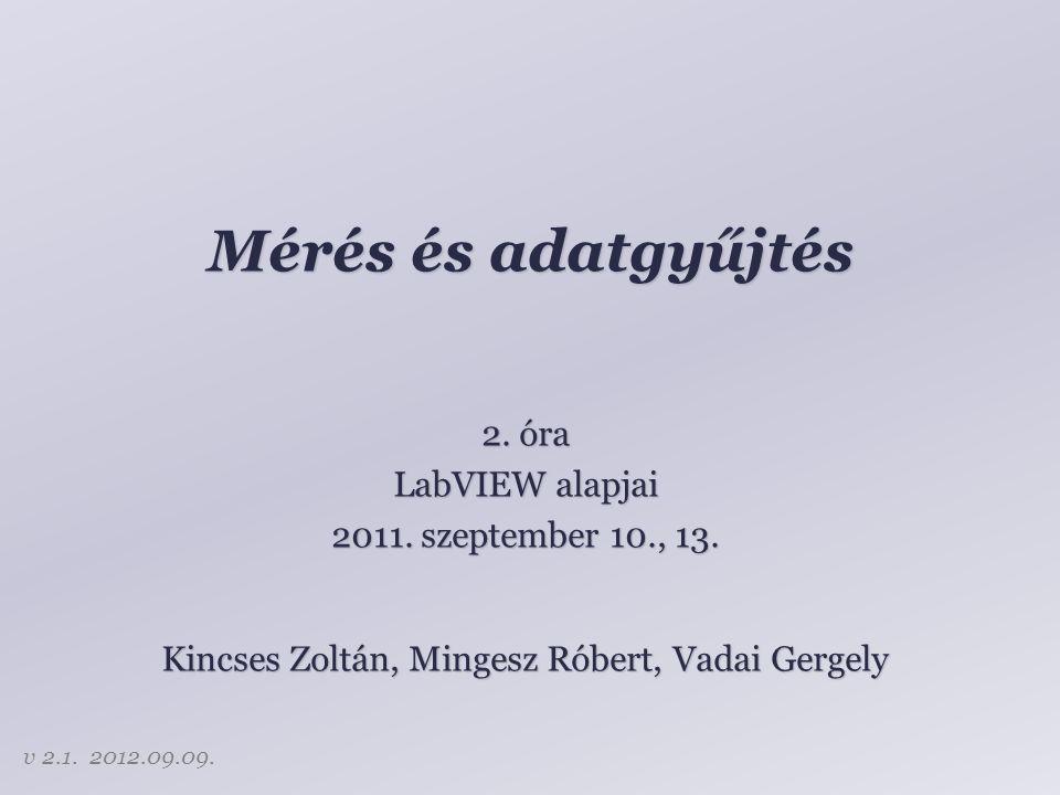 Mérés és adatgyűjtés Kincses Zoltán, Mingesz Róbert, Vadai Gergely 2. óra LabVIEW alapjai 2011. szeptember 10., 13. v 2.1. 2012.09.09.