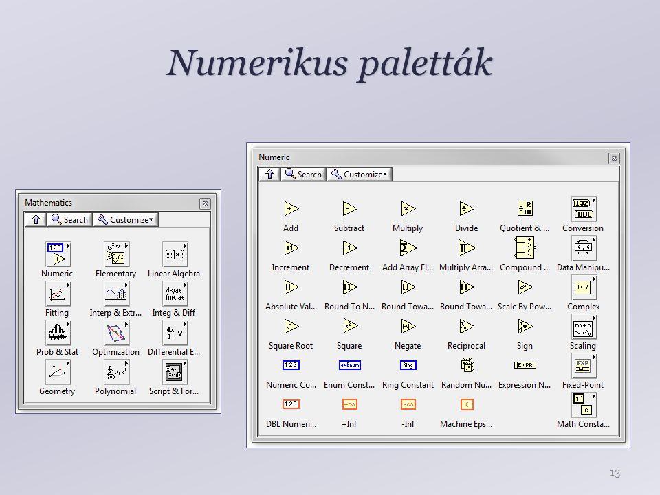 Numerikus paletták 13