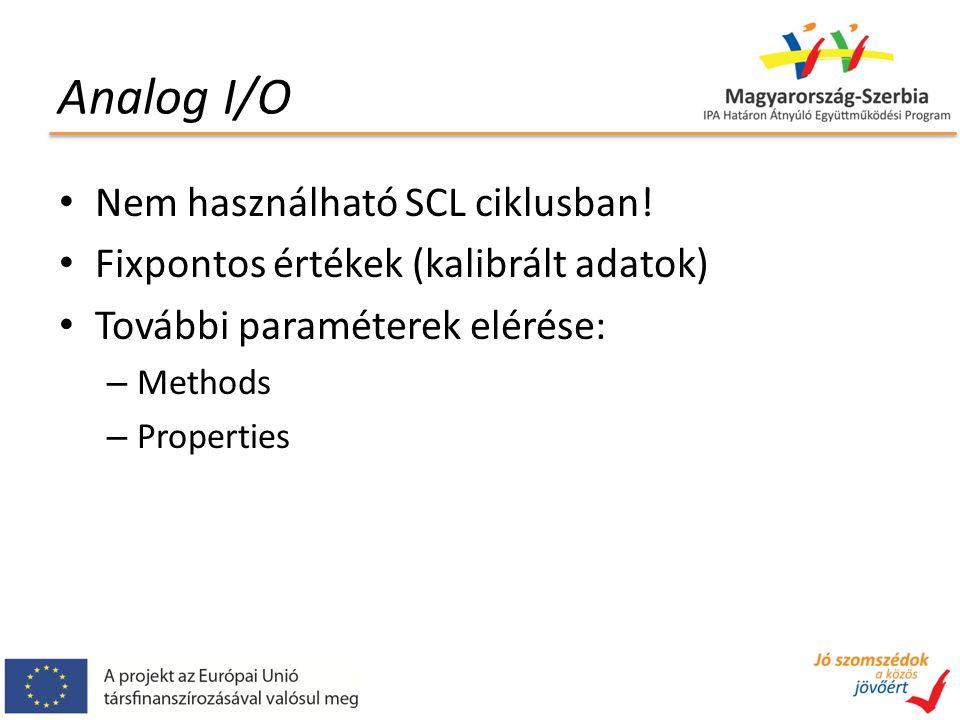Analog I/O Nem használható SCL ciklusban.