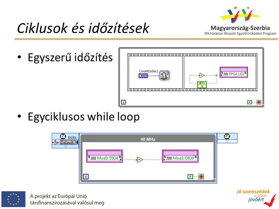 Ciklusok és időzítések Egyszerű időzítés Egyciklusos while loop