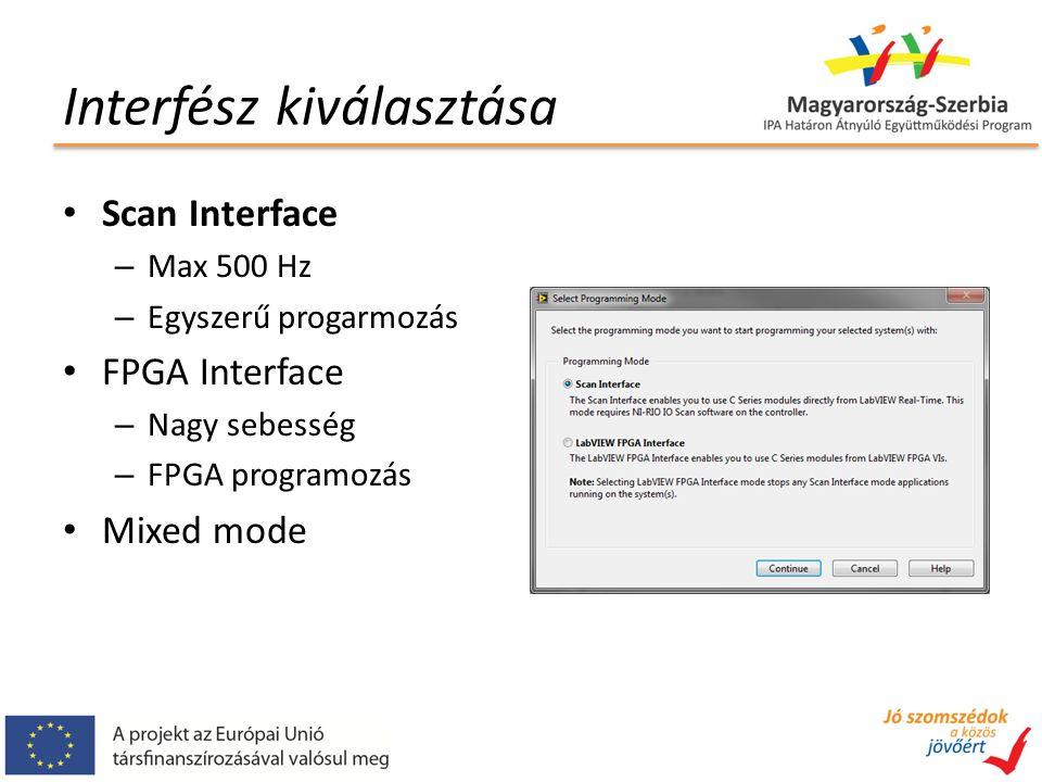 Interfész kiválasztása Scan Interface – Max 500 Hz – Egyszerű progarmozás FPGA Interface – Nagy sebesség – FPGA programozás Mixed mode