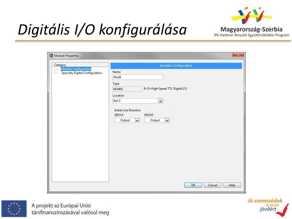 Digitális I/O konfigurálása