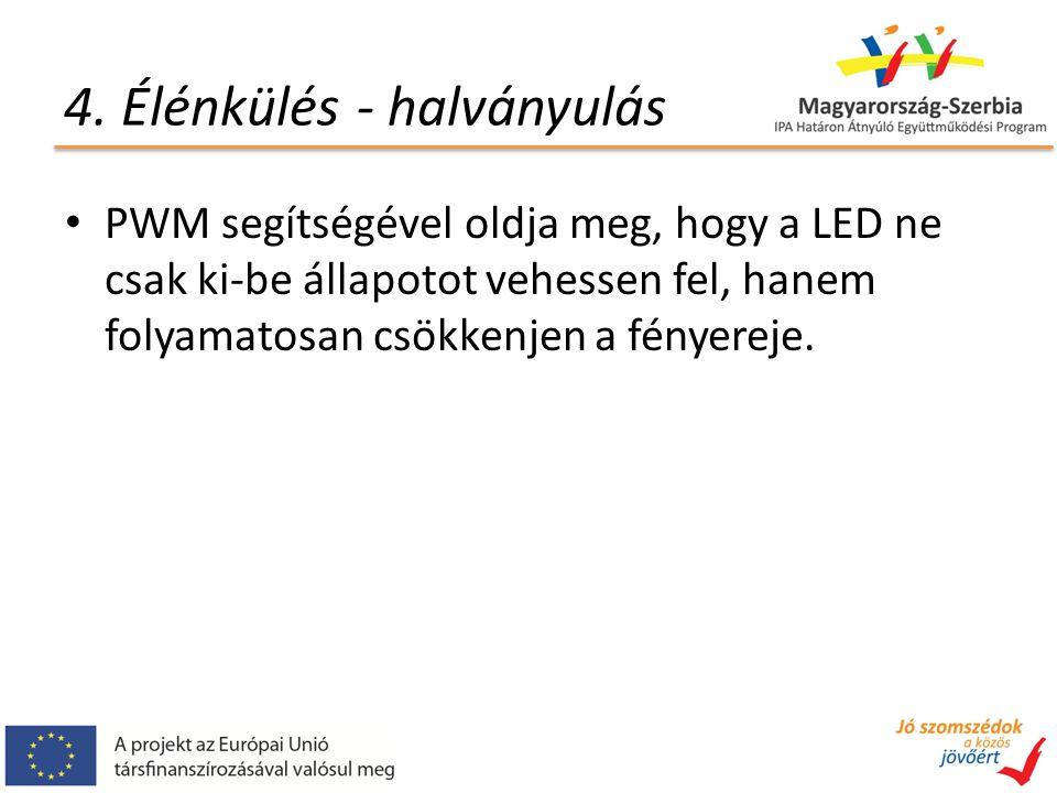 4. Élénkülés - halványulás PWM segítségével oldja meg, hogy a LED ne csak ki-be állapotot vehessen fel, hanem folyamatosan csökkenjen a fényereje.