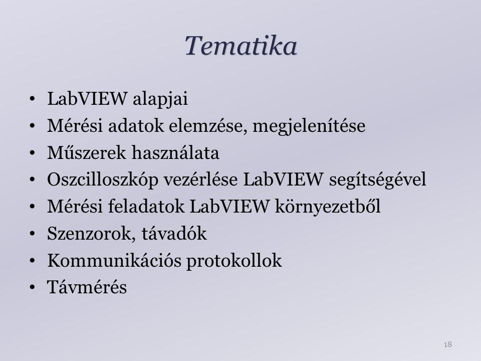 Tematika LabVIEW alapjai Mérési adatok elemzése, megjelenítése Műszerek használata Oszcilloszkóp vezérlése LabVIEW segítségével Mérési feladatok LabVIEW környezetből Szenzorok, távadók Kommunikációs protokollok Távmérés 18