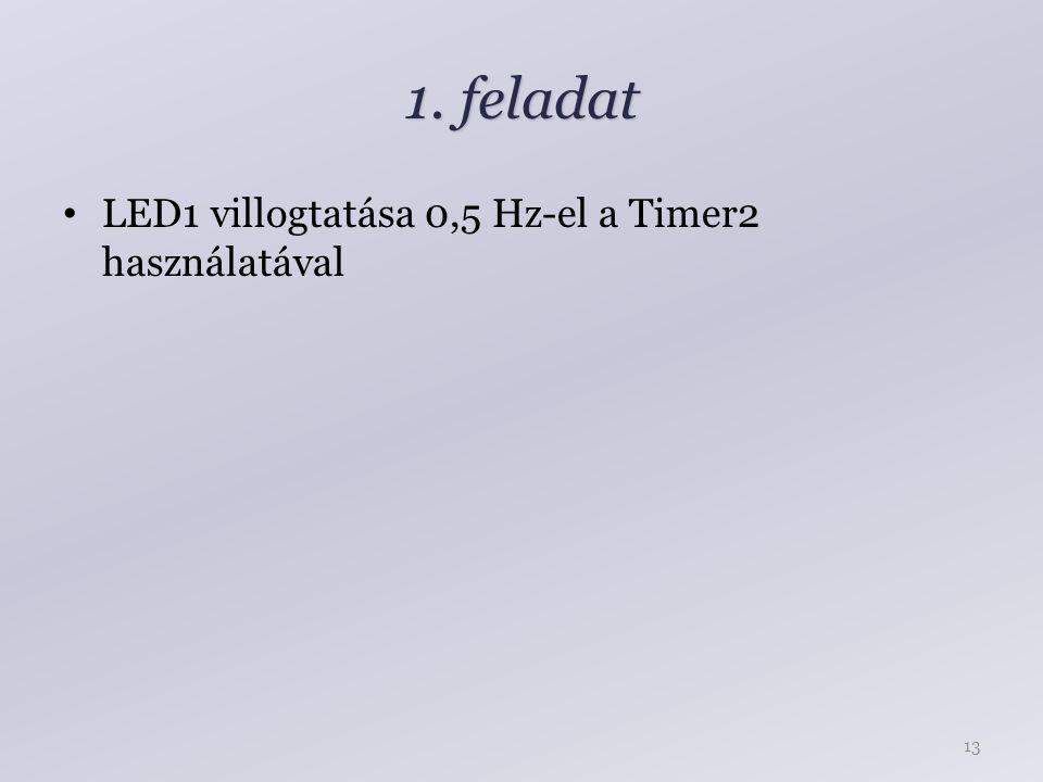 1. feladat LED1 villogtatása 0,5 Hz-el a Timer2 használatával 13