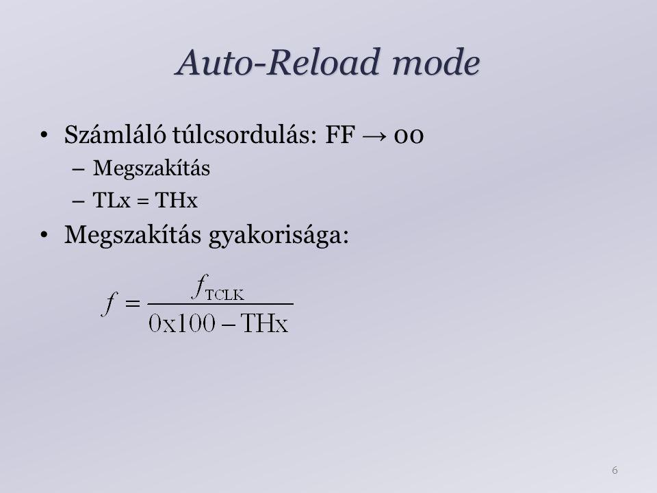 Auto-Reload mode Számláló túlcsordulás: FF → 00 – Megszakítás – TLx = THx Megszakítás gyakorisága: 6