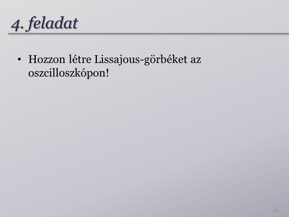4. feladat Hozzon létre Lissajous-görbéket az oszcilloszkópon! 18