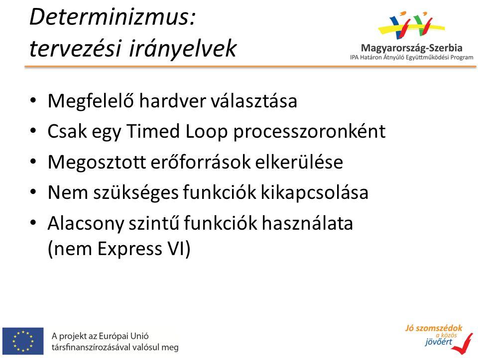 Determinizmus: tervezési irányelvek Megfelelő hardver választása Csak egy Timed Loop processzoronként Megosztott erőforrások elkerülése Nem szükséges funkciók kikapcsolása Alacsony szintű funkciók használata (nem Express VI)